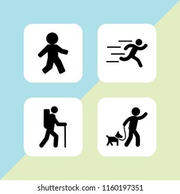 4 movement icons in vector set. runer silhouette running fast and walk illustration for web and graphic design