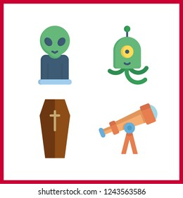 4 mystery icon. Vector illustration mystery set. telescope and scary icons for mystery works