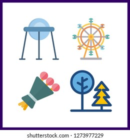 4 natural icon. Vector illustration natural set. ferris whell and capsule icons for natural works
