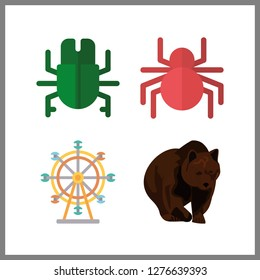 4 natural icon. Vector illustration natural set. ferris whell and spider icons for natural works