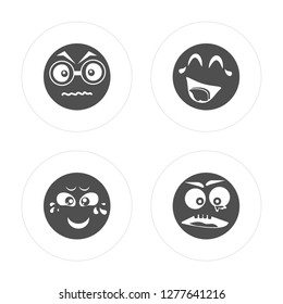 4 Nervous, Crying, Laughing, Ugly modern icons on round shapes, vector illustration, eps10, trendy icon set.