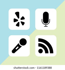 4 news icons in vector set. yelp, karaoke microphone icon, microphone and rss illustration for web and graphic design