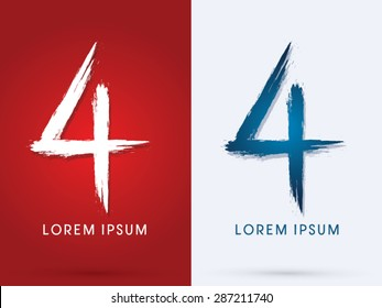 4 Number , Grunge brush font graphic vector.