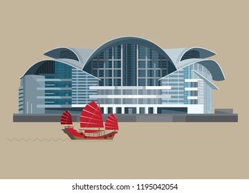 4 OCT 2018. Vector Illustration of The Hong Kong Convention and Exhibition Centre (HKCEC) phase II, an iconic landmark in Hong Kong and be famous for its unique bird-like rooftop design.