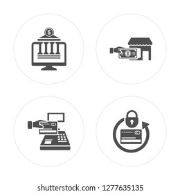 4 Online banking, Payment method, Cit card modern icons on round shapes, vector illustration, eps10, trendy icon set.