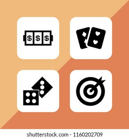 4 opportunity icons in vector set. two casino dices, goal, pair of cards and slots coincidence illustration for web and graphic design