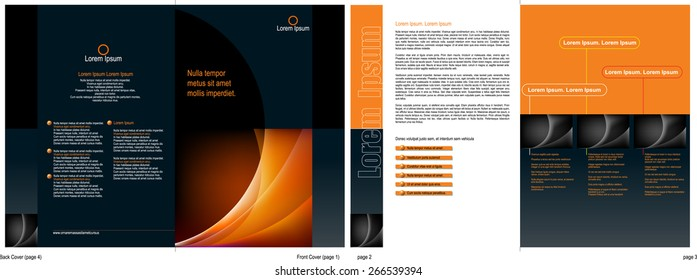 A 4 page (A4 size) corporate brochure design template - Vector