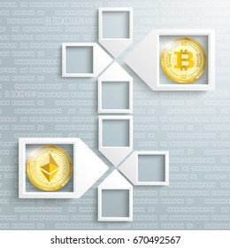 4 paper arrow frames on the gray backround with golden coins of bitcoin and ethereum. Eps 10 vector file.
