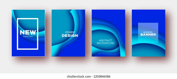 4 Paper Cut Tunnel Wave Shapes. Layered curve Origami design for business presentations, flyers, posters. Set of four vertical banners. 3D abstract map carving. Text. Frame. Blue.