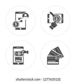 4 Payment method, Cit card modern icons on round shapes, vector illustration, eps10, trendy icon set.