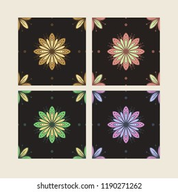 4 peace vector seamless pattern. Different color Flowers on dark background.