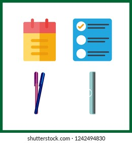 4 pencil icon. Vector illustration pencil set. list and ruller icons for pencil works
