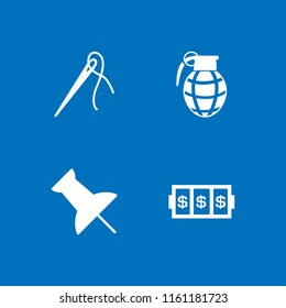 4 pin icons in vector set. slots coincidence, push pin, needle with thread to sew clothes and hand grenade illustration for web and graphic design