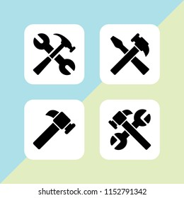 4 plain icons in vector set. hammer illustration for web and graphic design