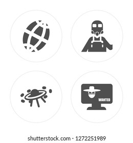 4 Planet grid circular, Military transport, Militar man with protection, Robber on monitor modern icons round shapes, vector illustration, eps10, trendy icon set.