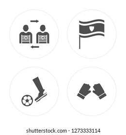 4 Player substitution, Soccer player, Flag, Gloves modern icons on round shapes, vector illustration, eps10, trendy icon set.