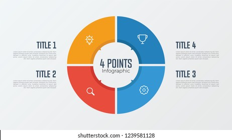 4 points, options, parts, processes, work flowsteps, steps infographic element circle shaped vector. business presentation template.