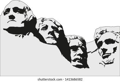 4 Presidents at Mount Rushmore National Memorial.Vector image.