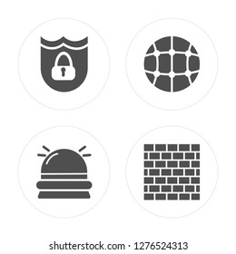 4 Protection, Hooter, Network, Firewall modern icons on round shapes, vector illustration, eps10, trendy icon set.