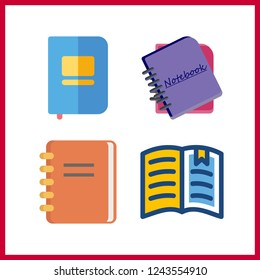 4 publication icon. Vector illustration publication set. open book and notebooks icons for publication works