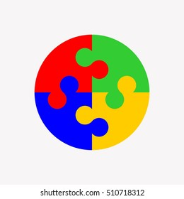 4 puzzle pieces, logo design element, vector illustration