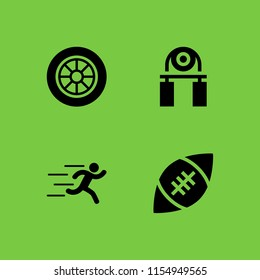 4 race icons in vector set. sports and competition, runer silhouette running fast and car wheel illustration for web and graphic design