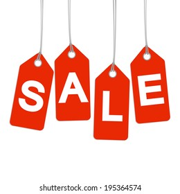 4 red hangtags with SALE