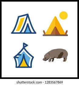 4 reserve icon. Vector illustration reserve set. hippo and tent icons for reserve works