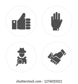 4 Right to objection, Detective, Cooperation modern icons on round shapes, vector illustration, eps10, trendy icon set.