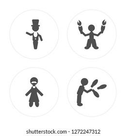 4 Ringmaster man, Bearded Acrobat Juggler man modern icons on round shapes, vector illustration, eps10, trendy icon set.