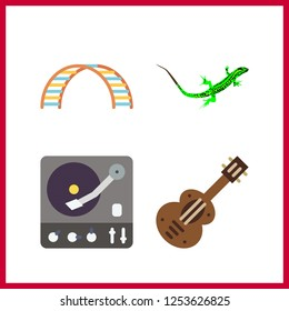 4 rock icon. Vector illustration rock set. spanish guitar and net climber icons for rock works