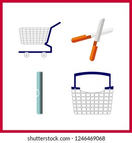 4 scissors icon. Vector illustration scissors set. shopping tool and ruller icons for scissors works