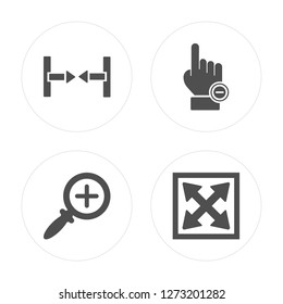 4 Scroll, Zoom in, Clicker, Move modern icons on round shapes, vector illustration, eps10, trendy icon set.