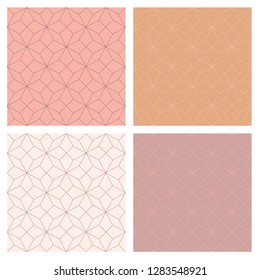 4 seamless art deco pattern with nude colors