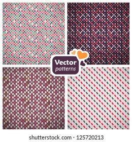 4 seamless stylish retro patterns. Vector