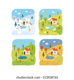 4 seasons landscape. Winter, spring, summer, autumn. School activity book vector eps 10 hand drawn illustration. Preschool poster.