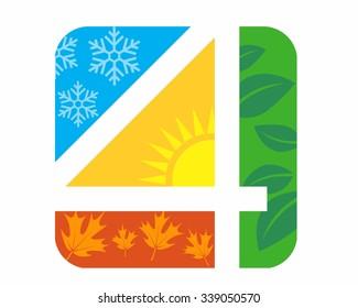 4 seasons logo icon vector