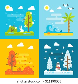 4 seasons park flat design set illustration vector