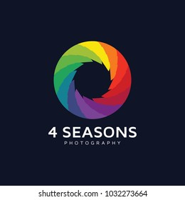 4 seasons photography leaf colorfull icon logo
