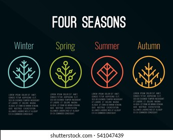 4 seasons tree icon sign in circle (Winter Spring Summer and Autumn) vector design