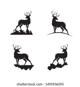 4 set of deer logo design template inspiration for your club, company or business.