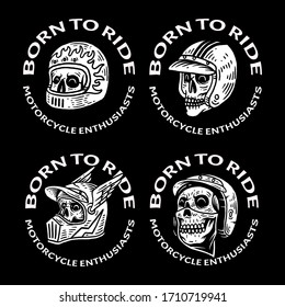 4 set vintage Badge Skull Helmet race Motorcycle Illustration