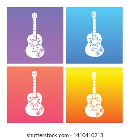 4 Sets / Collection Gradient Color Violet, Blue, Red, Yellow of Guitar Instrument Icon. Graphic Design Resource, Element, Vector Illustration. EPS 10