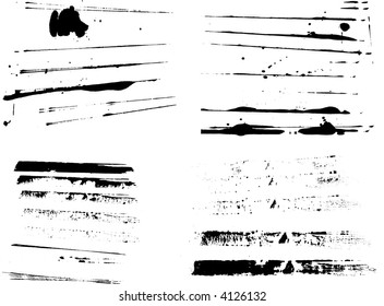 4 Sets of grunge strips (Isolated Vectors and on separate layers)  Background is transparent so they can be overlayed on other Illustrations or Images. Ideal elements