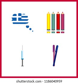 4 sharp icon. Vector illustration sharp set. needle and pencils icons for sharp works