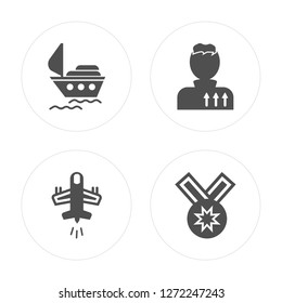 4 Ship, Plane, Militar strategy, Medal modern icons on round shapes, vector illustration, eps10, trendy icon set.