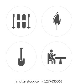 4 Skii, Shovel, Fire, Table modern icons on round shapes, vector illustration, eps10, trendy icon set.