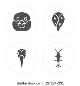 4 Snigir, Crane, Deadlock, Silverfish modern icons on round shapes, vector illustration, eps10, trendy icon set.
