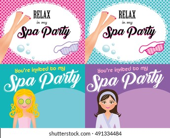 4 Spa party invitation cards