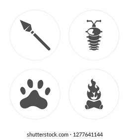 4 Spear, Paw print, Arthropod, Bonfire modern icons on round shapes, vector illustration, eps10, trendy icon set.